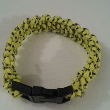 Neon yellow and black paracord 550/325 bracelet with survival buckle or regular buckle
