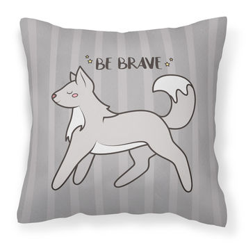 Nursery Be Brave Wolf Fabric Decorative Pillow BB7472PW1414