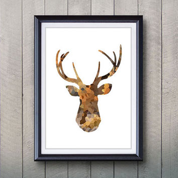Antler - Stag - Moose Skull Print - Minimalist Art - Silhouette Poster Art - Wall Decor, Home Decor, House Warming Gifts