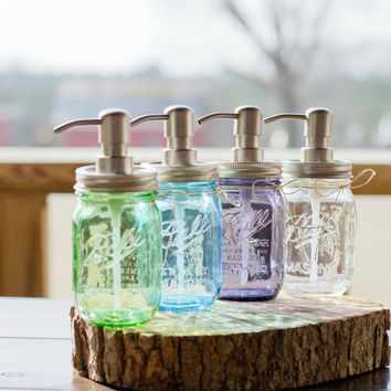 Pint Size Mason Jar Soap Dispenser. Vintage Purple. Vintage Blue. Vintage Green. Clear Ball Soap Dispenser. Home Decor. Rustic Home Decor.