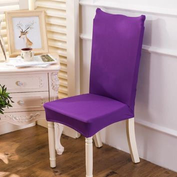 Solid Polyester Removable Chair Cover Stretch Elastic Slipcovers Restaurant For Weddings Banquet Folding Hotel Chair Covering