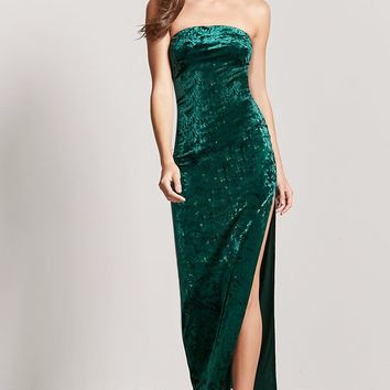 Crushed Velvet Strapless Maxi Dress
