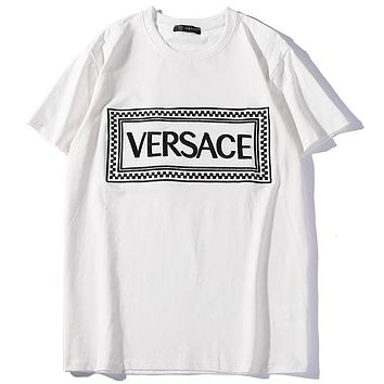 Versace 2019 new embroidered logo thin section breathable men's short-sleeved T-shirt white