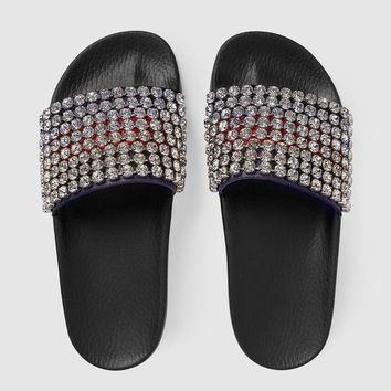 Gucci Web slide with crystals