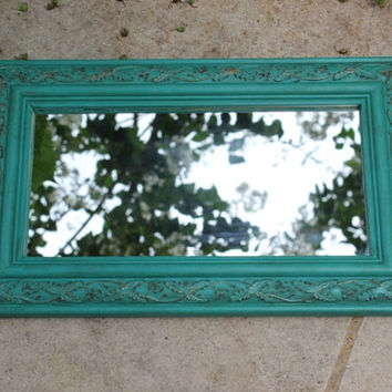 Turquoise antique rectangular wall mirror, hand-painted in Annie Sloan Provence chalk paint