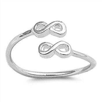 Sterling Silver Split Twin Infinity Toe Ring/ Knuckle/ Mid-Finger 5MM