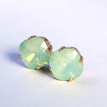 Mint Green Opal Crystal Stud Earrings - Classic Sparkling Seafoam Solitaire Swarovski 10mm - Sterling Post & Copper - Women's Jewelry