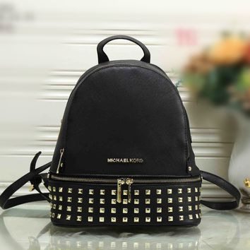"""Michael Kors"" Fashion Personality Rivet Backpack MK Women Casual Large Capacity Double Shoulders Bag"