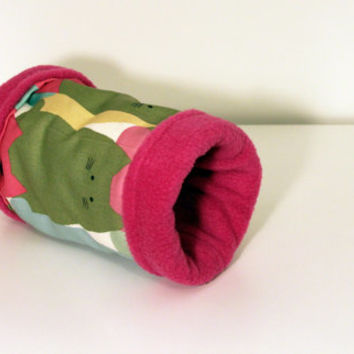 Rat Tunnel, Gerbil Tube, Sugar Glider Hide - Multicolour Cats with Pink Fleece