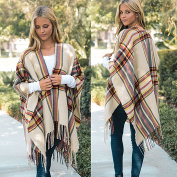 Plaid Fall Fringed Wrap