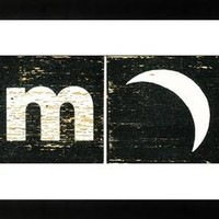 Mid Century Alphabet Block Art M is for Moon