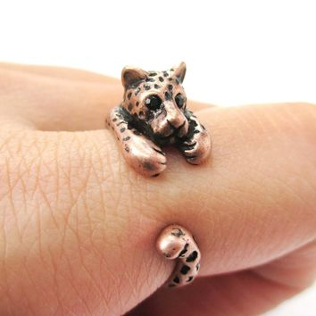 Realistic Leopard Jaguar Shaped Animal Wrap Around Ring in Copper | US Sizes 4 to 9