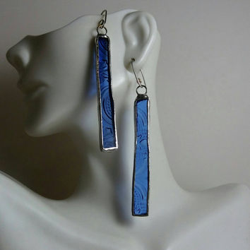Stained Glass Earrings, Blue Textured Glass Earrings, Rectangles, Stained Glass Jewelry, Handmade Artisan Jewelry, Hip Chick Jewelry