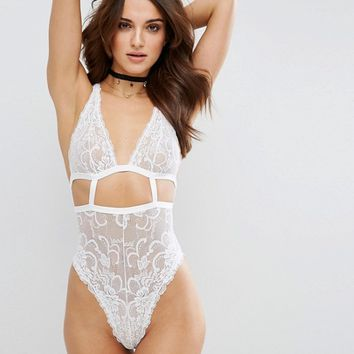 ASOS Gia High Apex Lace Cut Out Bodysuit at asos.com