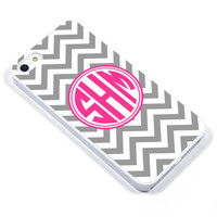 Personalised iPhone Case iPhone 5 iPhone 5s iPhone 5C iphone 4 Samsung Galaxy S3 S4 - Monogram Chevron pink grey - p08