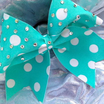 Tiffany Blue Polka Dot Cheer Bow with Crystal Rhinestones