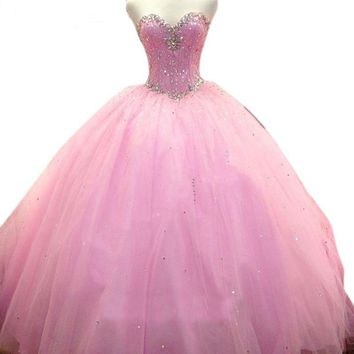 Beaded Crystals Dresses Ruffled crystal Beads Ball Gowns