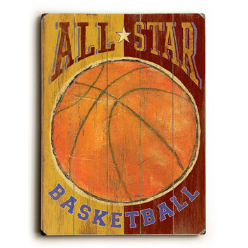 Kids Basketball All Star Wood Sign