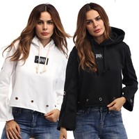 Personality Letter Hollow Round Ring Women Casual Hooded Long Sleeve Sweater Short Tops