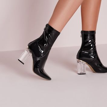 Missguided - Perspex Patent Heel Ankle Boots Black