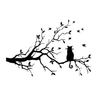 Cat On Long Tree Branch Wall Sticker Decals