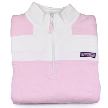VINEYARD VINES Womens COLOR BLOCK SHEP SHIRT New LARGE L Lg. Pink & White 2K0384