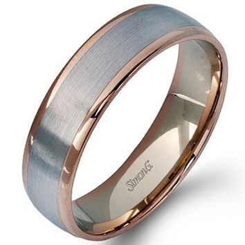 Simon G. White & Rose Gold Two-Tone 6 MM Men's Wedding Band