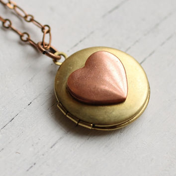 Heart Locket ... Gold Copper Rosy Pink Love Valentine Romance