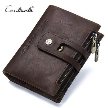 CONTACT'S 2018 New Arrival Genuine Leather Men's Wallet For Men Small Zipper Organizer Wallets Cash Carteira For Rfid Purses