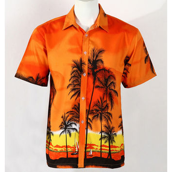 Hot LARGE SIZE Men Aloha Shirt Cruise Tropical Luau Beach Hawaiian Party Palm Sunset red  plus fat version