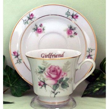 Girlfriend Personalized Porcelain Tea Cup (teacup) and Saucer