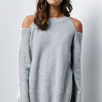 J.O.A. Fuzzy Cold Shoulder Sweater - Womens Sweater - Gray