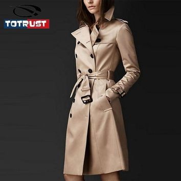 TOTRUST Trench Coat Women 2017 Autumn New Arrival Double-Breasted Turn-Down Collar Long Cotton Outwears Elegant Slim Long Trench