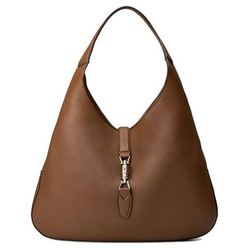 Gucci Brown Jackie Soft Pebbled Leather Hobo Bag 362968