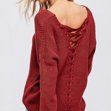 Love Wins Lace Up Back Sweater (Rust)