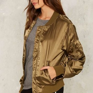 Let it Satin Bomber Jacket - Green