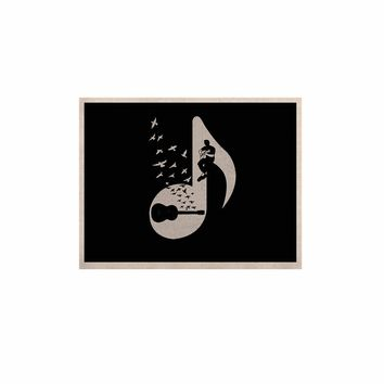 """BarmalisiRTB """"Musical Note - Acoustic Guitar"""" Black White Digital KESS Naturals Canvas (Frame not Included)"""
