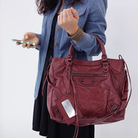 New Arrival - Classic Velo MOTOR Bag (Premium ITALY Calf skin Leather/ Handbag/Tote bag/Shoulder bag/leather handbag - Burgundy Color)