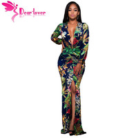 Dear Lover Autumn Dresses for Night Party Plunging V Neck Floral Print Front Slit Long Sleeve Maxi Dress Vestidos Largos LC61310