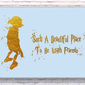 Dobby Harry Potter Quote Gold Art Print Instant Download Printable Blue Edition