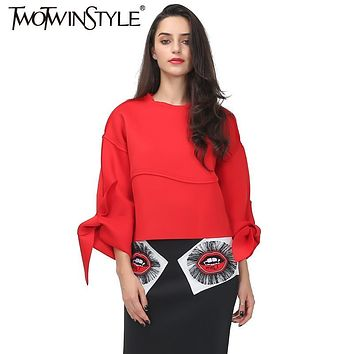 [TWOTWINSTYLE] 2017 Autumn Super Clipping Batterfly Cuffs Design Bat Sleeve Loose Tops Women Black Red Color New