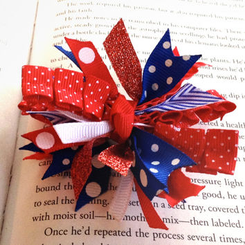 Mini Red, White and Blue Spike Hair Bow - Memorial Day Bow - Fourth of July Hair Bow