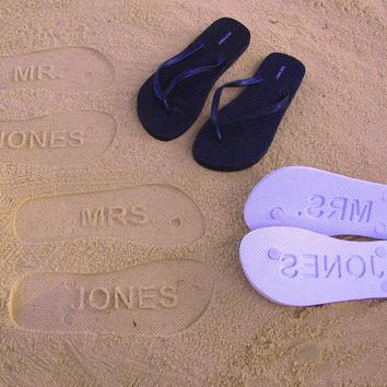 Custom Sand Imprint Wedding and Bridal Flip by FlipSideFlipFlops