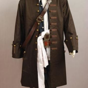 Pirates of The Caribbean 4 Captain Jack Sparrow Cosplay Costume jacket Coat party Halloween Carnival Cosplay Costume