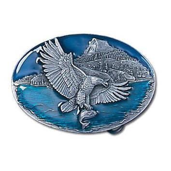 Sports Accessories - Eagle Catching Fish Enameled Belt Buckle