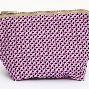 pink makeup bag, purse nailpolish organizer, cosmetic bag, braided pattern pouch, gift for her