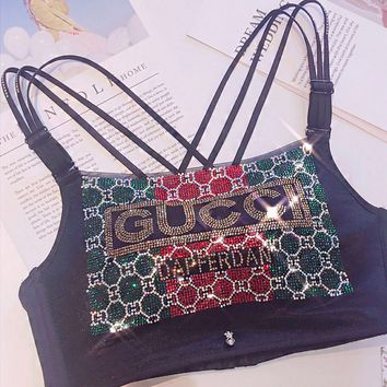 GUCCI Fashionable Women Sexy Luxury Shiny Diamond Bra