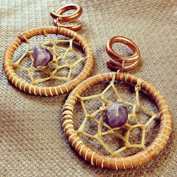 Dreamcatcher Dangles - Earrings for Stretched Lobes - Gauges