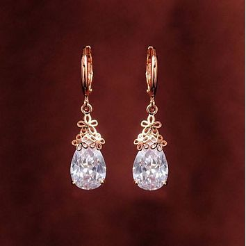 Diamond Flower Pierced Dangle Drop Earrings