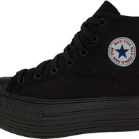 Maxstar Women's C50 7 Holes Zipper Platform Canvas High Top Sneakers All Black
